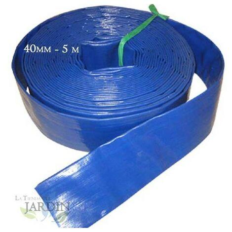 "MANGUERA PLANA 32mm 5 metros para descarga de agua, Poliester PVC Azul Goma Layflat de Incendios y Piscinas (1 1/4"")"