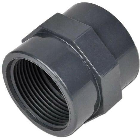 Manguito en PVC roscado mixto - Hembra para encolar / Hembra para atornillar - Diámetro 40 mm - Rosca 33/42
