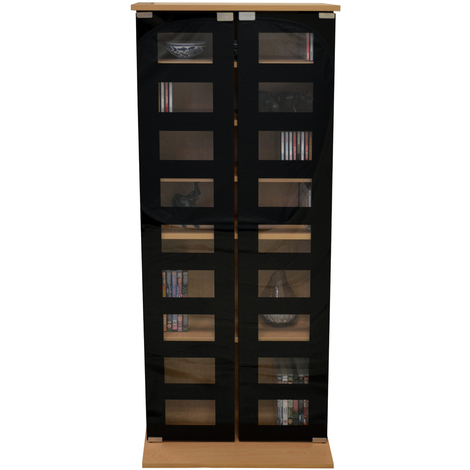 MANHATTAN - Black Glass 344 CD / 128 DVD / Blu-ray / Media Storage Shelves