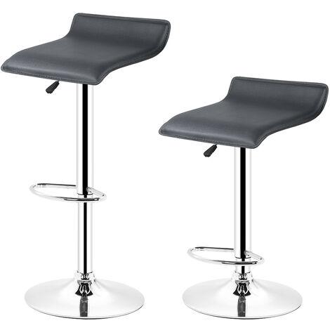 Manhattan Faux Leather Bar Stools, (Set of 2, Black) Height Adjustable, Chrome Footrest Bar, 360 Degree Rotatable