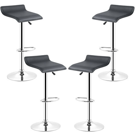 Manhattan Faux Leather Bar Stools, (Set of 4, Black) Height Adjustable, Chrome Footrest Bar, 360 Degree Rotatable