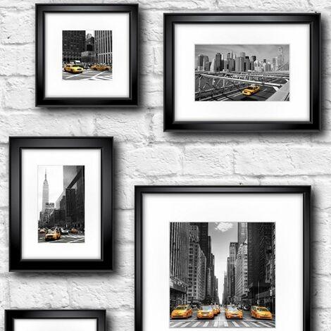 Manhattan Frames Wallpaper Muriva New York Black White Yellow Taxi Brick