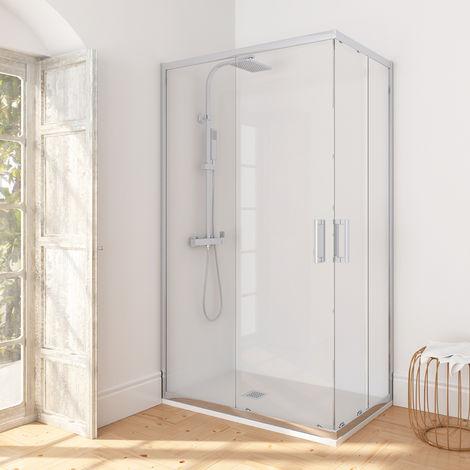 Manhattan Mampara de ducha semicircular entrada esquina 90x80
