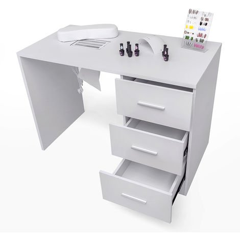 Manicure and nail reconstruction table with aspirator and drawers FLORAL