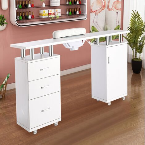 Manicure Nail Table Salon Nail Art Desk Unit with Cupboard Drawers