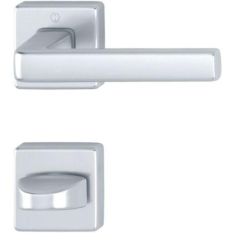 Maniglia Hoppe Dublin con rosette angolare WC, in alluminio anodizzato argento di H, 3796091