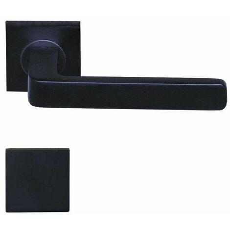 Manijas modelo Soho con rosetas ciegas cuadradas - aluminio anodizado negro x2