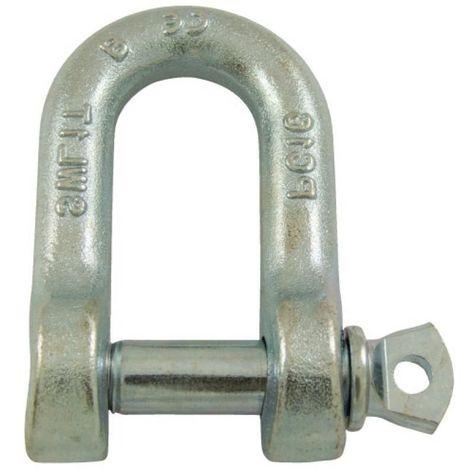 Manilles droites à piton à oeil acier estampé zingué blanc diamètre axe 6 mm en boîte de 5