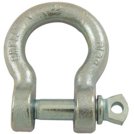 Manilles lyres à piton à oeil acier estampé zingué blanc diamètre axe 16 mm