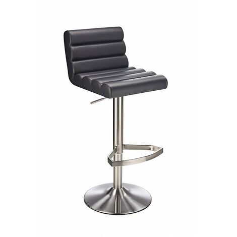 Manitor Brushed Steel Swivel Bar Stool With Faux Leather Padded Seat 6 Colour Option Ribbed Seat - Black Black