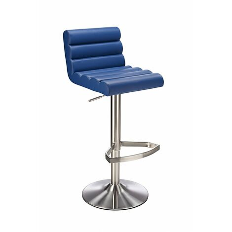 Manitor Brushed Steel Swivel Bar Stool With Faux Leather Padded Seat 6 Colour Option Ribbed Seat - Blue Blue