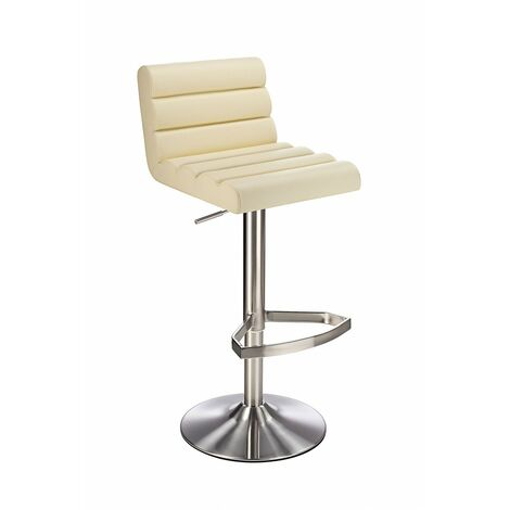 Manitor Brushed Steel Swivel Bar Stool With Faux Leather Padded Seat 6 Colour Option Ribbed Seat - Cream Cream