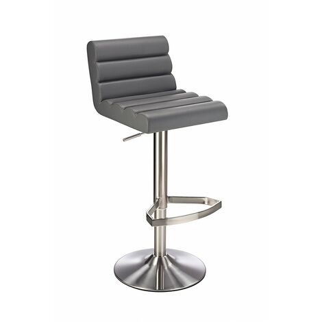 Manitor Brushed Steel Swivel Bar Stool With Faux Leather Padded Seat 6 Colour Option Ribbed Seat - Grey Grey