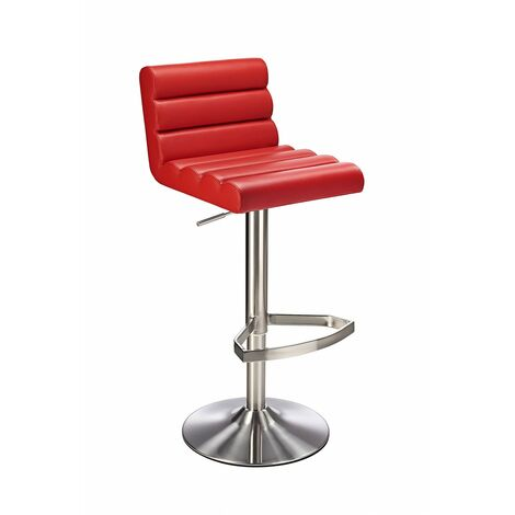 Manitor Brushed Steel Swivel Bar Stool With Faux Leather Padded Seat 6 Colour Option Ribbed Seat - Red Red