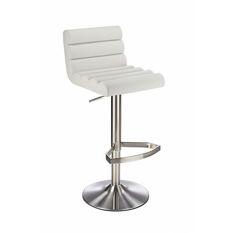 Manitor Brushed Steel Swivel Bar Stool With Faux Leather Padded Seat 6 Colour Option Ribbed Seat - White White