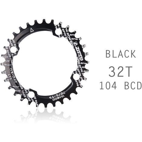 Manivela de bicicleta 104BCD Forma redonda Estrecho Ancho 32T / 34T / 36TMTB Plato Rueda de cadena de bicicleta Juego de bielas de circulo de bicicleta Placa unica, Negro, 32T