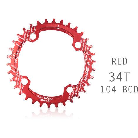Manivela de bicicleta 104BCD Forma redonda Estrecho Ancho MTB Plato Rueda de cadena de bicicleta Juego de bielas de circulo de bicicleta Placa unica, Rojo, 34T