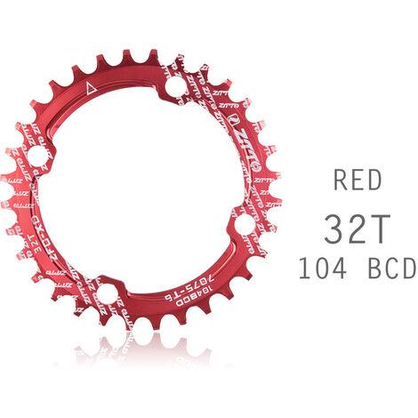 Manivela de bicicleta 104BCD Forma redonda Plato de MTB ancho estrecho Rueda de cadena de bicicleta Juego de bielas de circulo de bicicleta Placa unica, Rojo, 32T