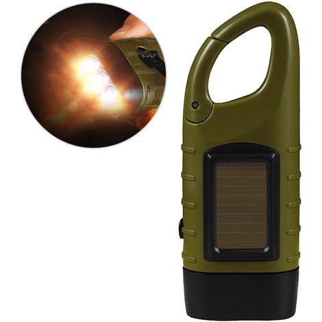 Manivela linterna solar recargable, linterna de emergencia antorcha,Ejercito verde