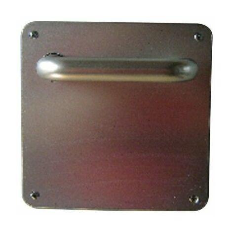 Manivela Puerta 1988-600Ch-F6 Aluminio Inox Placa Cuadrada