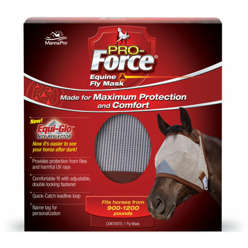 Image of Force Horse Fly Mask (One Size) (Light Grey/Light Blue) - Manna Pro