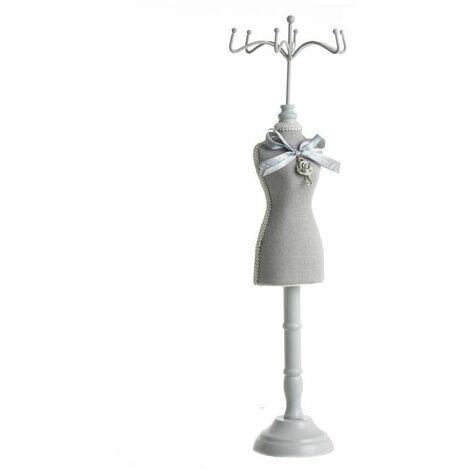Mannequin porte-bijoux couture argent - H 40.5 cm - Plastique - Gris