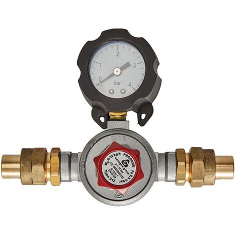 Mano-détendeur haute pression Propane avec manomètre 8kg/h - 0,5 à 3b - à souder 12 - Favex