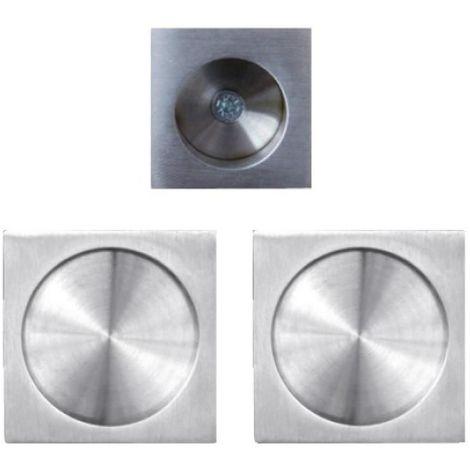 Manœuvres rosace carrée pour porte coulissante usinage Ø 48 mm inox satiné