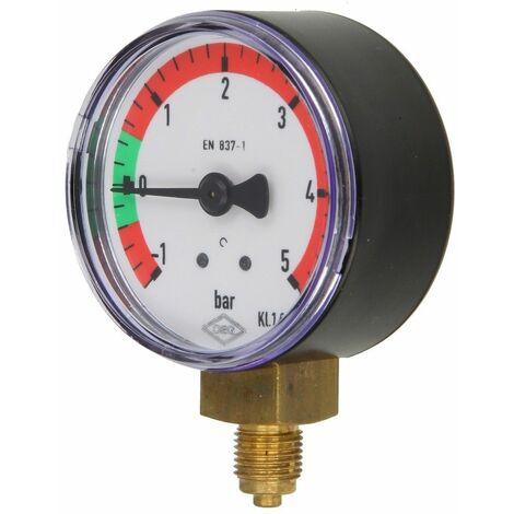 """Manomètre -1 À +5 bar, 1/8"""", radial 50 mm Ø, sec, classe 1,6"""