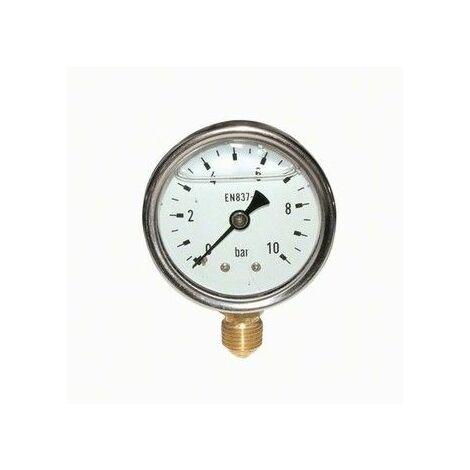 Manomètre à bain de glycérine 0-10 bars - Ø63 - Radial de Générique - Manomètre - Catégorie Manomètre