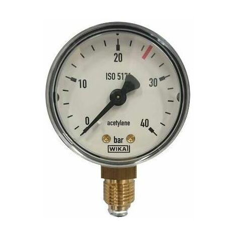 Manomètre acétylène HP : 0 à 40 B