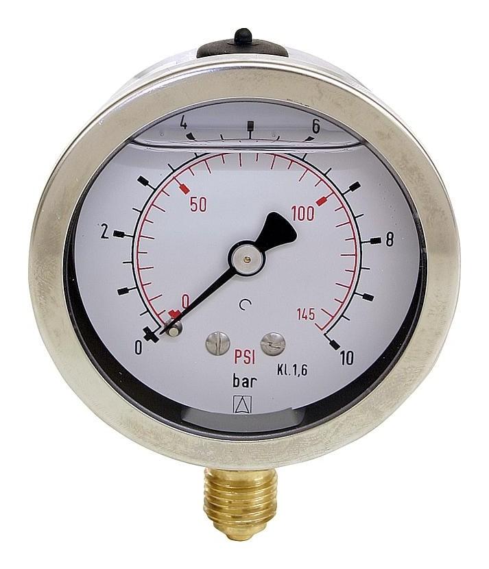 Manometre avec glycerine Domaine de pression: 0-40 bar, boitier 63mm  raccordment: 1/4