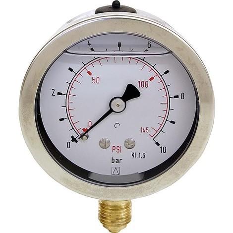 """Manometre avec glycerine Domaine de pression: 0-40 bar, boitier 63mm raccordment: 1/4"""" dessous"""""""
