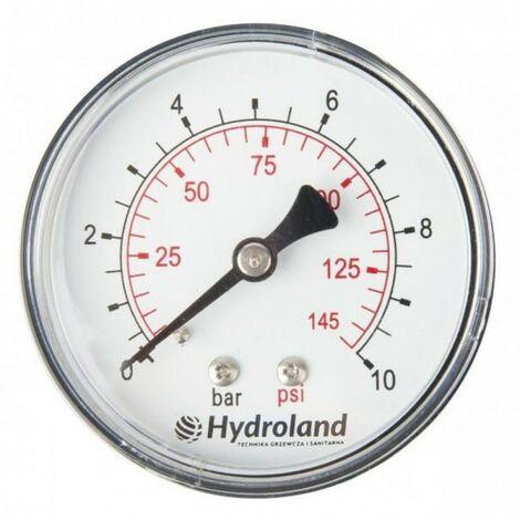 Manomètre axial 0-10 bar 63 mm à ressort m