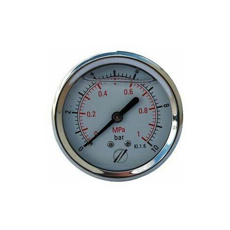 Manomètre Axial glycérine D.63 de 0 à 10 bar