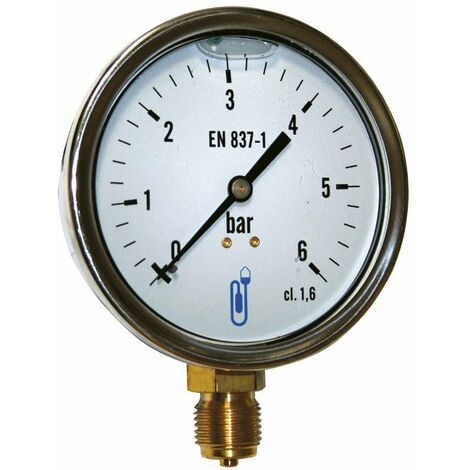 Manomètre bain d'huile inox - raccord vertical 15x21 - cadran Ø100mm