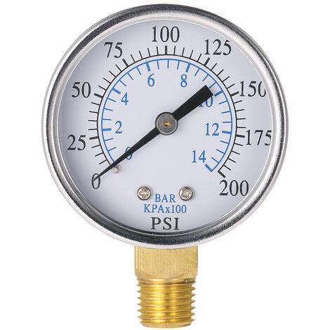 """Manometre hydraulique a double echelle de manometre de 50 mm 1/4 """", TS-50-14"""
