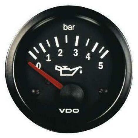 Manometre pression huile - 0-5b - fond noir - Diametre 52mm VDO