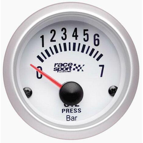Manometre Pression huile - fond blanc - diametre 52mm