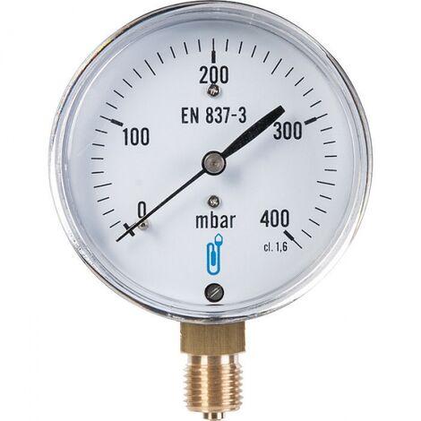 Manomètre gaz radial 0 à 400 mbar