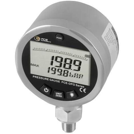 Manómetro para medición de la presión del aire y agua hasta 200 bar PCE-DPG 200