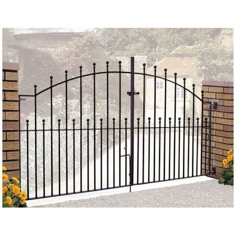 Manor Arched Double Gate 4' High x 7' Gap Zinc Powder