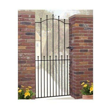 "Manor Tall Single Gate 76.5"" High x 3'6"" Gap Zinc & Powder"