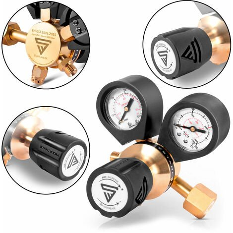 Manorreductor STAHLWERK para ARGÓN /CO2 / gas mixto / gas de protección hasta 200 bar y 32 L/min, para máquinas de soldar TIG / MIG / MAG