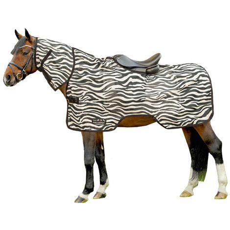 Manta anti-museo para caballo con cuello de cebra HKM Classic