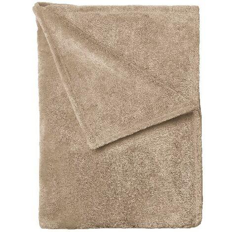 Manta Camoscio - Plaid - para el sofa, la cama, la habitacion - Beige en Microfibra, 120 x 160 cm