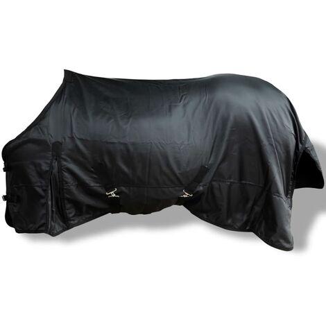 Manta de Lana Doble Capa con Cinchas 105 cm (Negra)