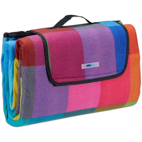Manta de pícnic XXL, Manta aislante para exterior, Impermeable, Con asa, Cuadros de colores, 200 x 200 cm