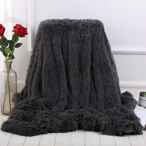 Manta Grande Piel suave y cálida Shaggy Fluffy Throw Plush Home Sofá cama Winter Plus 130 * 160cm Blanco LAVENTE