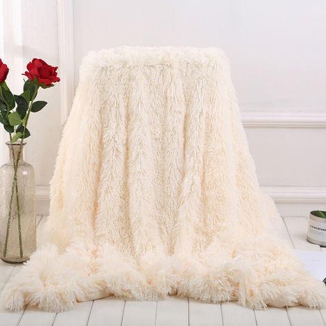 Manta Grande Suave Cálida Piel Shaggy Mullido Throw Plush Home Sofá cama Winter Plus 130 * 160cm Gris Sasicare